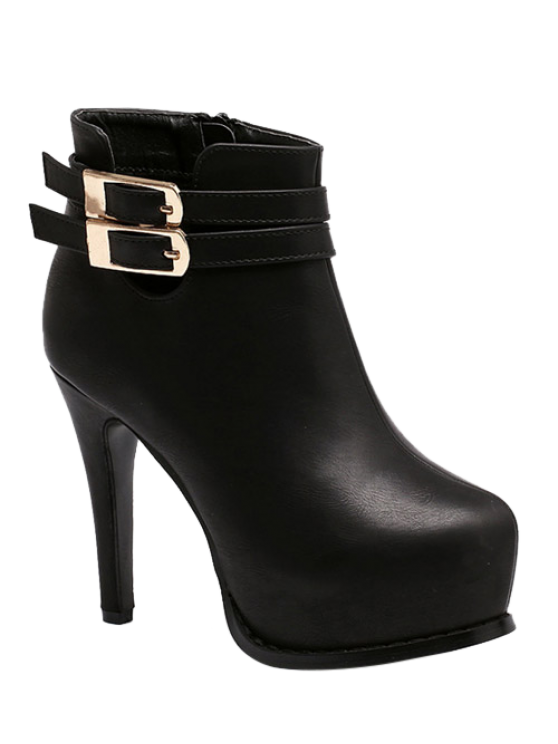 best Double Buckle Stiletto Heel Ankle Boots - BLACK 38