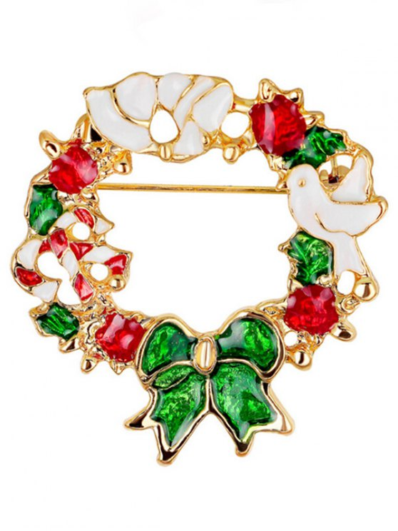 ladies Christmas Wreath Dove Brooch - WHITE