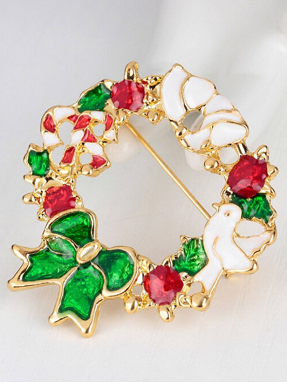 Christmas Wreath Dove Brooch -   Mobile