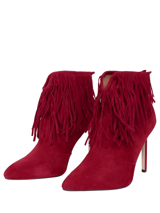 Fringe V-Shape Zipper Ankle Boots -   Mobile