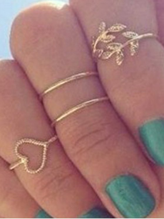 Heart Leaf Alloy Rings - GOLDEN ONE-SIZE Mobile