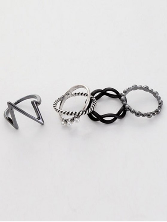 A Suit of Lighting Alloy Rings - SILVER ONE-SIZE Mobile