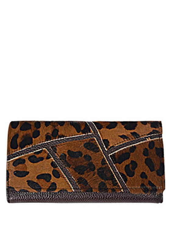 outfit Splicing Embossing PU Leather Wallet - LEOPARD
