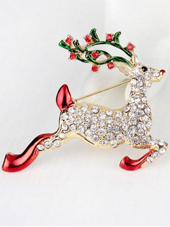Christmas Rhinestone Reindeer Brooch -   Mobile