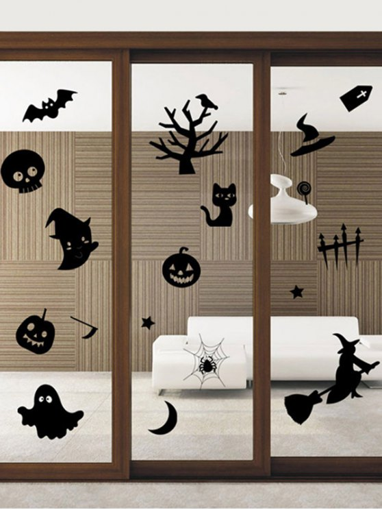 Halloween Series Removable Waterproof Room Vinyl Wall Sticker - BLACK  Mobile
