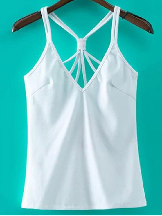 women Solid Color Cut Out Spaghetti Straps Tank Top - WHITE S