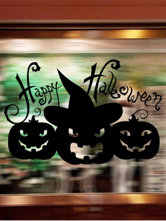 Happy Halloween Pumpkin Witch Removable Waterproof Room Wall Sticker - BLACK  Mobile
