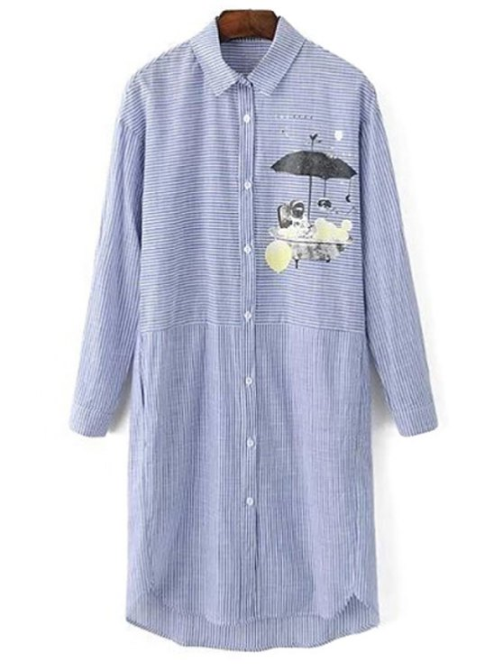 Impresa rayada vuelta-abajo al vestido de manga larga - Azul Gris L