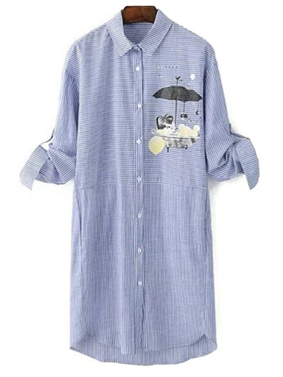Printed Striped Turn-Down Collar Long Sleeve Dress - BLUE GRAY L Mobile