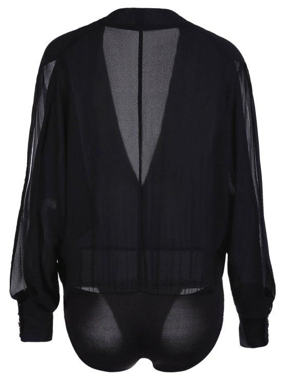 Solid Color V-Neck Split Sleeve Bodysuit - BLACK XL Mobile