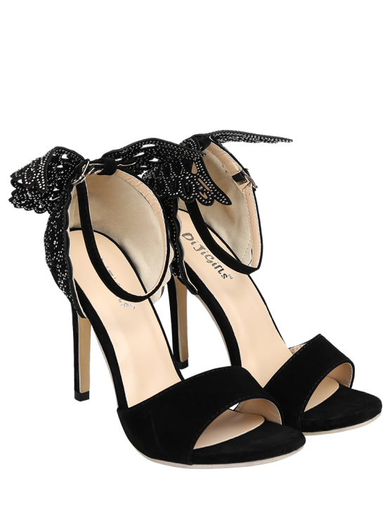 Wings Rivet Stiletto Heel Sandals - BLACK 40 Mobile