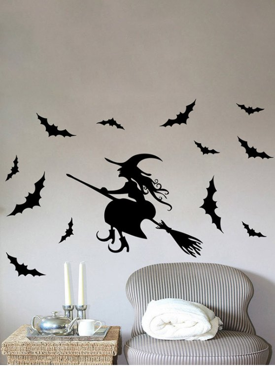 Waterproof Happy Halloween Witch Bats Vinyl Wall Stickers Custom - BLACK  Mobile
