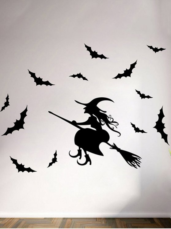 Waterproof Happy Halloween Witch Bats Room Wall Sticker - BLACK  Mobile
