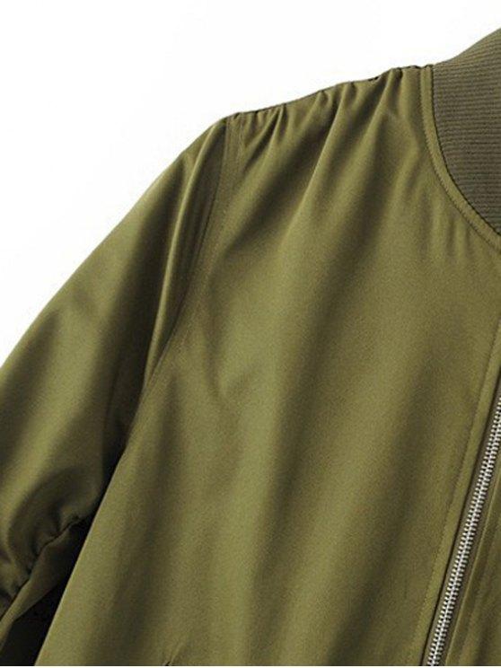 Zippered Sleeve Bomber Jacket - BLACK L Mobile