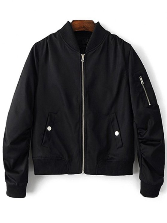 Zippered Sleeve Bomber Jacket - Black L