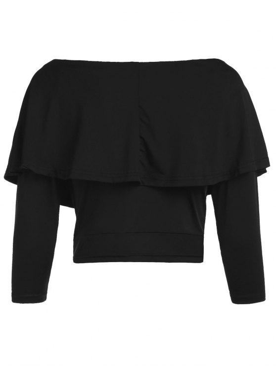 Flouncing Off The Shoulder Cropped T-Shirt - BLACK S Mobile
