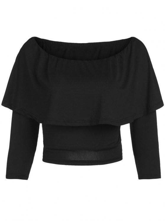 fashion Flouncing Off The Shoulder Cropped T-Shirt - BLACK 2XL