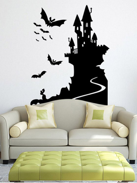 fancy Bats Castle Happy Halloween Waterproof Room Wall Sticker - BLACK