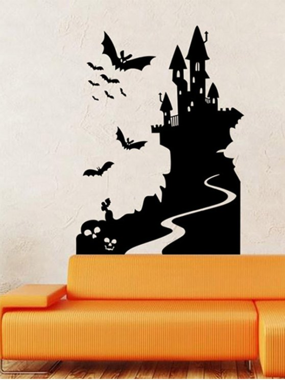 Bats Castle Happy Halloween Waterproof Room Wall Sticker - BLACK  Mobile
