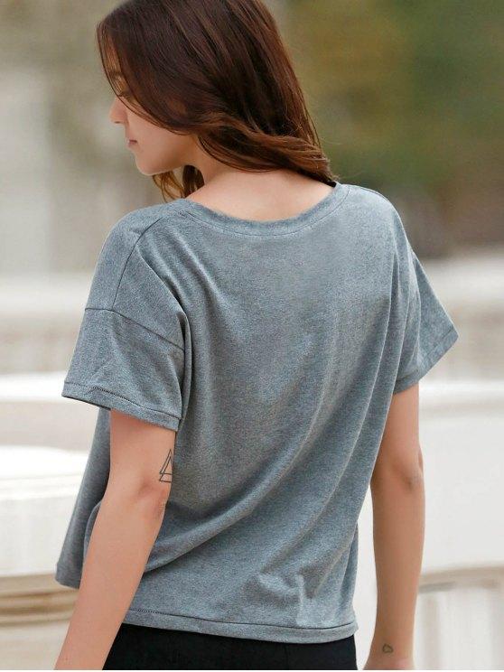 Letter Print Short Sleeve Round Neck T-Shirt - GRAY S Mobile