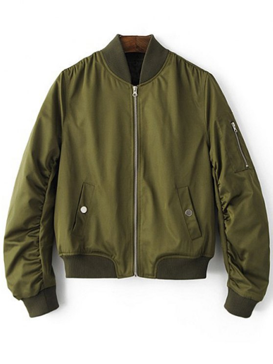outfits Zippered Sleeve Bomber Jacket - ARMY GREEN M