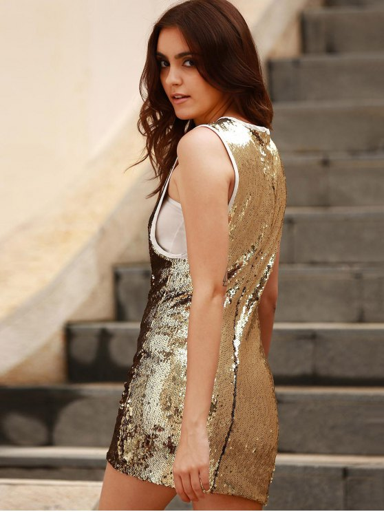 Sequins Round Collar Sleeveless Bodycon Dress - GOLDEN 2XL Mobile