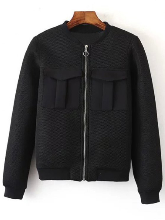 Big Pocket Mesh Design Pilot Jacket - BLACK L Mobile