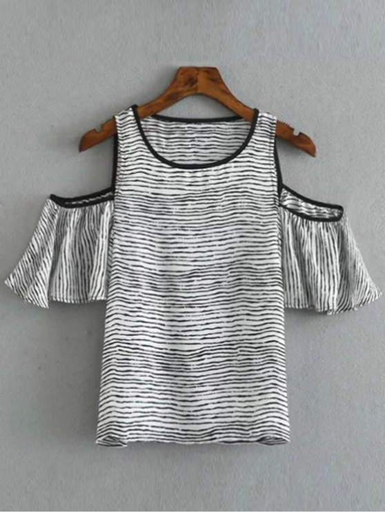 Striped Round Collar Cold Shoulder T-Shirt - WHITE AND BLACK S Mobile