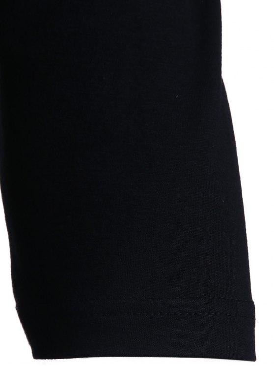 Cold Shoulder Round Collar 3/4 Sleeve Solid Color T-Shirt - BLACK L Mobile