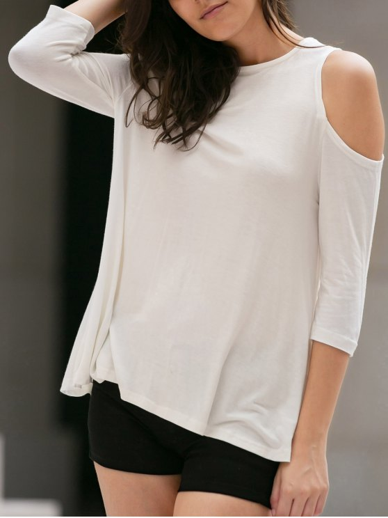 Cold Shoulder Round Collar 3/4 Sleeve Solid Color T-Shirt - WHITE M Mobile