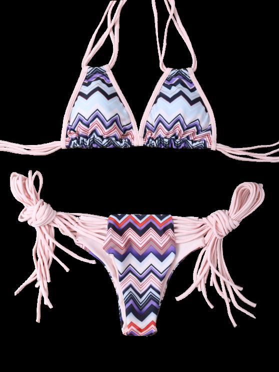 Halter Zig Zag Stringy Bikini Set - COLORMIX S Mobile