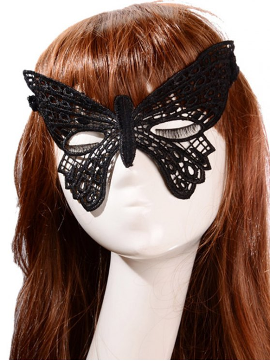 Faux Lace Butterfly Headband Party Mask - BLACK  Mobile