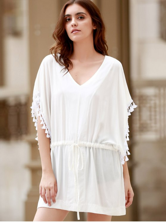 Solid Color V-Neck Batwing Sleeve Drawstring Dress - WHITE XL Mobile