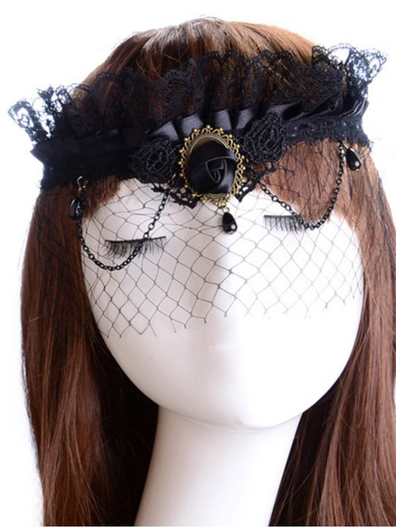 womens Rose Water Drop Forehead Chain Party Mask - BLACK
