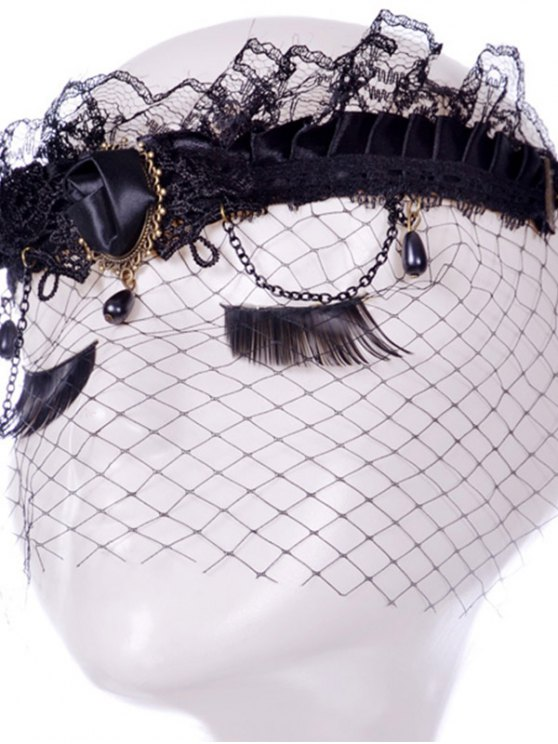 Rose Water Drop Forehead Chain Party Mask - BLACK  Mobile