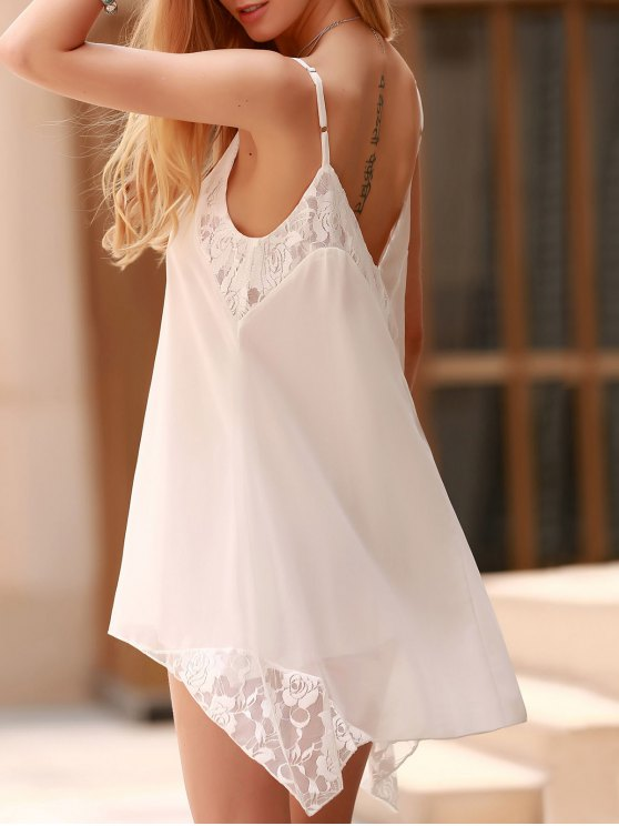 Lace Spliced Spaghetti Straps Solid Color Dress - WHITE 2XL Mobile