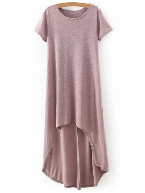 High-Low Round Neck Short Sleeve Dress - COMPLEXION M Mobile