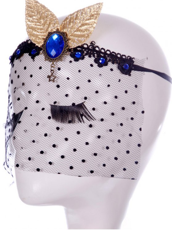 Faux Sapphire Leaf Hair Accessory Party Mask - BLACK  Mobile