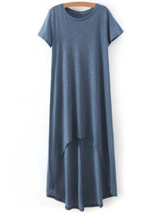 High-Low Round Neck Short Sleeve Dress - BLUE M Mobile