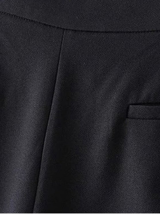 Black Lace Splice High Waist Shorts - BLACK S Mobile