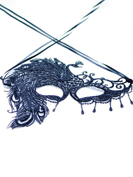 Faux Lace Peacock Feather Party Mask - BLACK  Mobile