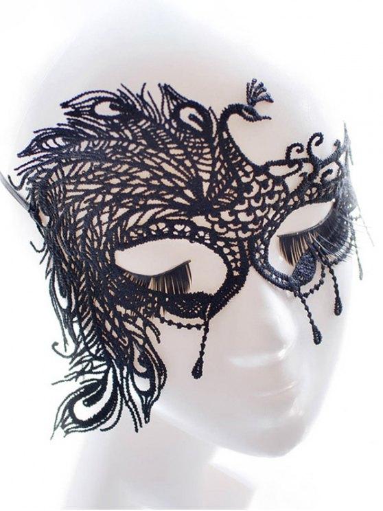 Masque Faux dentelle Parti de plume de paon - Noir