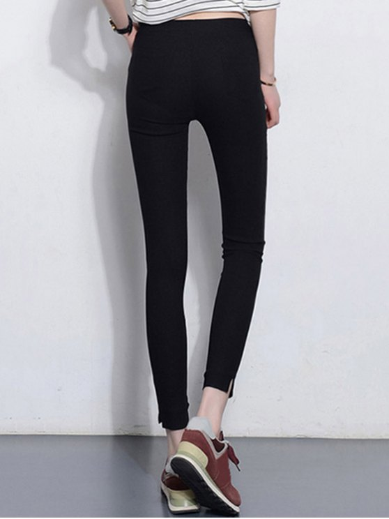 Solid Color Stretchy Leggings - BLACK M Mobile