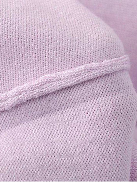 Solid Color Stand Neck Short Sleeve Knitwear - LIGHT PURPLE S Mobile