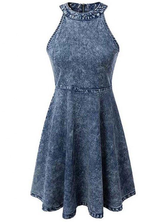 outfit Snowflakes Round Neck Sleeveless Denim Dress - BLUE L