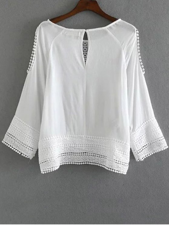 Cutout Lace Chiffon Top - WHITE M Mobile