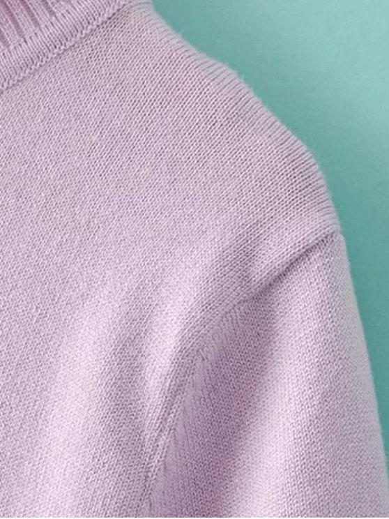 Solid Color Stand Neck Short Sleeve Knitwear - LIGHT BLUE M Mobile