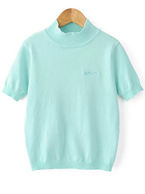 women's Solid Color Stand Neck Short Sleeve Knitwear - LIGHT BLUE S