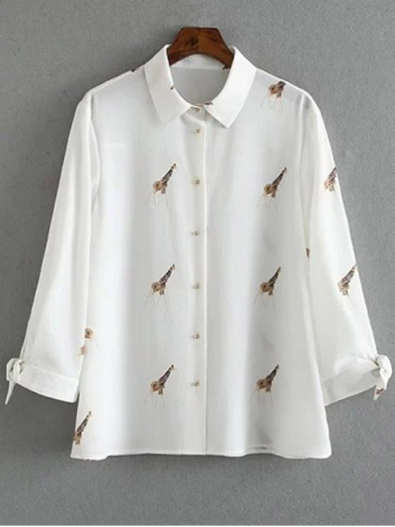 Tie-Up Giraffi Print White Shirt - WHITE S Mobile
