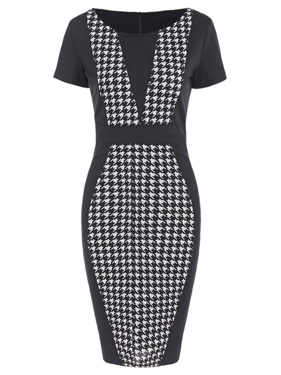 outfit Houndstooth Pencil Dress with Sleeves - BLACK XL